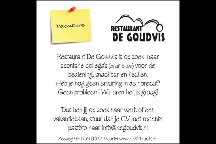 Restaurant De Goudvis is op zoek  naar spontane collega's